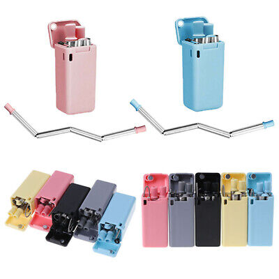 Reusable Metal Folding Collapsible Drinking Straw Portable W/ Cleaning Brush Set