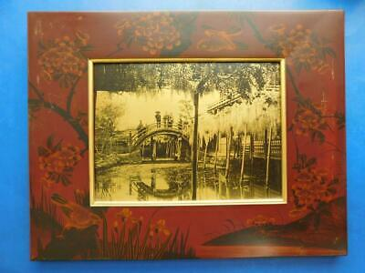 Japan Gold Metallic Wisteria Tamamura Kozaburo Photograph in Lacquered Frame