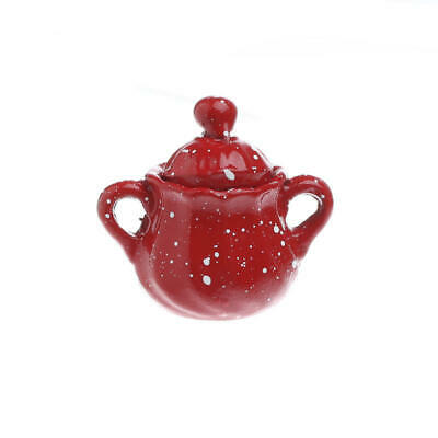 Dollhouse Miniature Red Enamelware Tea Pot with Steam and Potholder ~ CAR0861
