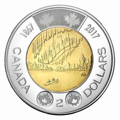 Canada 2 Dollars Toonie Coin, Dance of the Spirits, Northern Lights, 2017