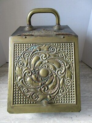 Antique Embossed Brass and Tin Metal Coal Scuttle Holder Hod Victorian Hearth