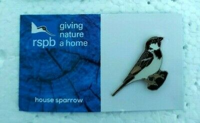 RSPB HOUSE SPARROW charity pin badge GNAH BRAND NEW DESIGN CARD