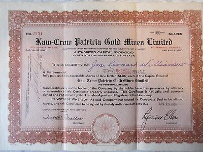 Old 1936 Kaw-Crow Patricia Gold Mines 100 Shares Stock Certificate