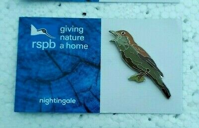 RSPB NIGHTINGALE charity pin badge GNAH BRAND NEW DESIGN CARD