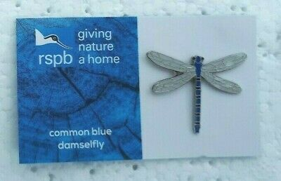 RSPB COMMON BLUE DAMSELFLY charity pin badge GNAH BRAND NEW DESIGN CARD