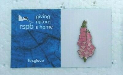 RSPB FOXGLOVE charity pin badge COMBINE P+P GNAH BRAND NEW DESIGN CARD