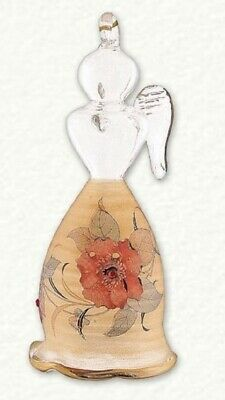 Gold Angel with Rose Flower Design Egyptian Glass Christmas Ornament Made Egypt