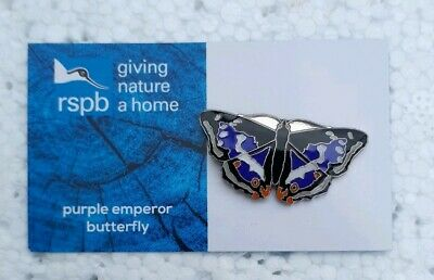 RSPB PURPLE EMPEROR BUTTERFLY charity pin badge GNAH BRAND NEW DESIGN CARD