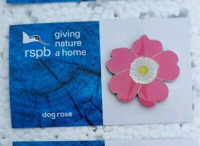 RSPB DOGROSE charity pin badge GNAH BRAND NEW DESIGN CARD