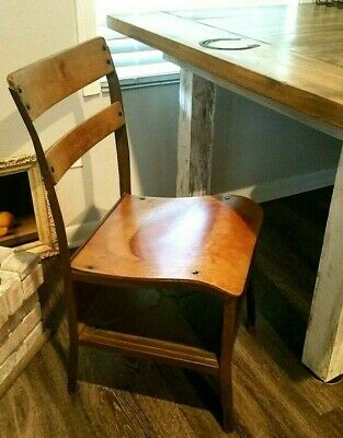 Vtg US American Seating Co School Desk Rustic Farmhouse Chair Bent Wood & Metal