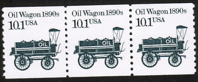 US #2130 10.1c Oil Wagon 1890s Transportation MNH Strip of 3 Stamps
