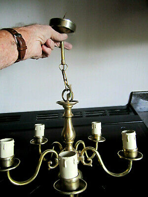 Old Dutch Style Brass 5 Lights Chandelier with Ceiling Fitting