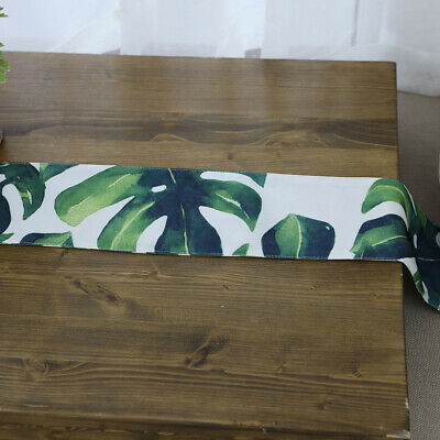 Leaf Print Table Runner Cotton Linen Decoration for Home Wedding Party 10x125cm