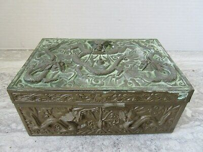 Vintage Made in China Cast Brass Embossed Dragon Wood Lined Dresser Box