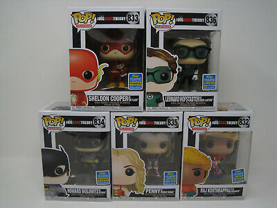 POP Funko 2019 SDCC Limited The Big Bang Theory as DC Comics Super Hero 5pk Lot