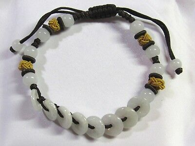 "Chinese Round Disc Donut ""Life Saver"" FENG SHUI Natural White Jade Bead Bracelet"