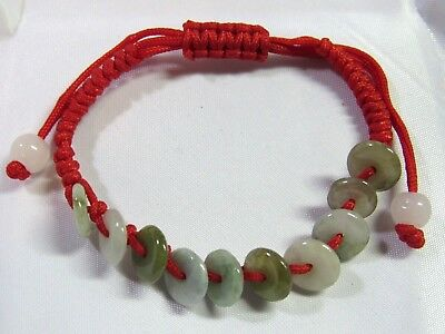 "Chinese Round Disc Donut ""Life Saver"" FENG SHUI Natural Jade Bracelet RED Thread"