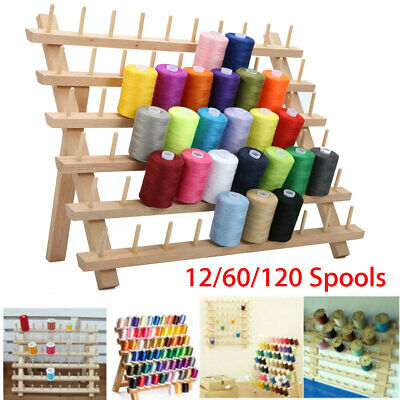 Premium Beechwood 60-Spool Sewing & Embroidery Cone Holder Thread Rack Stand
