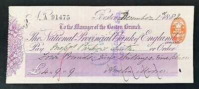 antique Victorian National Provincial Bank of England cheque, Boston Branch 1882
