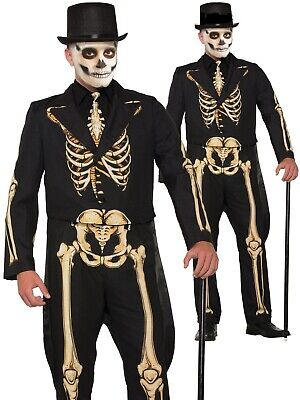 Mens Adults Skeleton Costume Halloween Suit Dress Fancy Dress Outfit New Deluxe