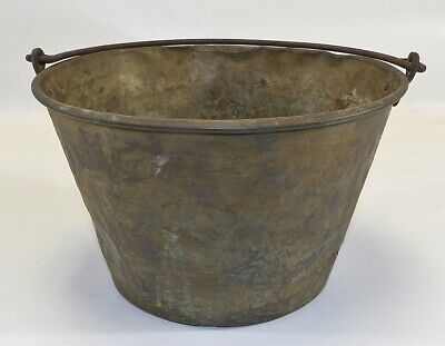Antique Hand Tooled 19th Century Brass Pail Bucket Wonderful Patina