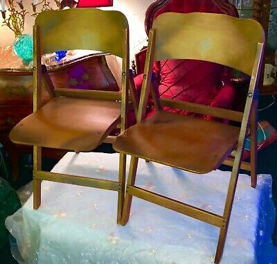 Antique Vintage Norcor Wood Wooden Folding Chair Set Church Boat Deck Primitive