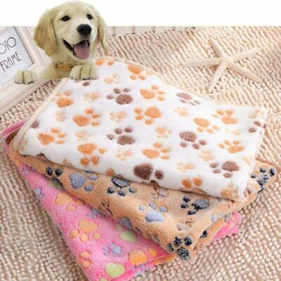 Pet Cat Dog Sleeping Blanket Beds Mat Paw Print Cat Puppy Fleece Soft Warm Bed
