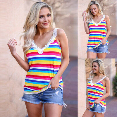 Women Sexy Rainbow Tank Top Vest Ladies Lace Sleeveless V Neck Cami Blouse Shirt