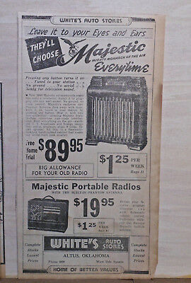 1939 newspaper ad for Majestic Radios - console,portable, Mighty Monarch of Air