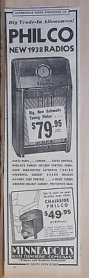1937 newspaper ad for Philco Radio - 1938 models,  Automatic Tuning, Chairside