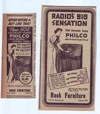 Two 1937 newspaper ads for Philco radios - 1938 model 4XX inclined control panel