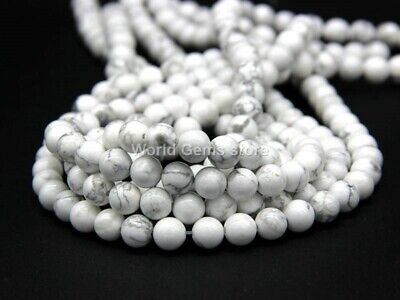 Natural Matte White Howlite Round Loose Gemstone Beads Strands Strings 15 Inch