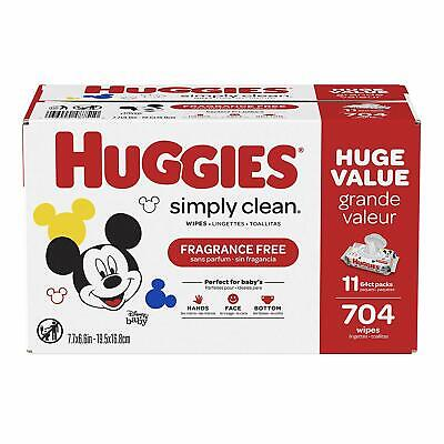 Huggies Simply Clean Fragrance-Free Baby Wipes, Soft Pack (11-Pack, 704 Sheets T