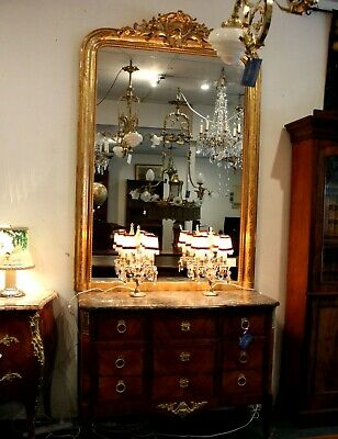 19th C. 22ct GOLD WATER GILDED FRENCH MIRROR. LOUIS XVI INFLUENCED 177cm x 120cm