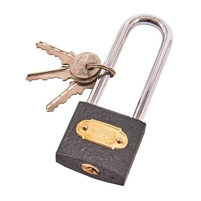 38mm WIDE LONG SHACKLE IRON PADLOCK LOCK DOOR GATE GARAGE 3 KEYS SECURITY NEW
