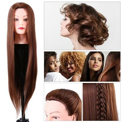 Human Hair Practice Hairdressing Training Head Mannequin Doll Clamp
