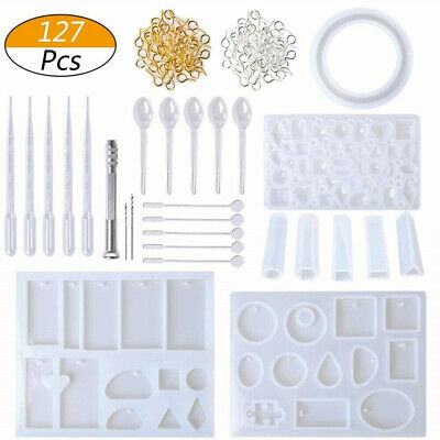 127Pcs DIY Resin Casting Mold Kit Silicone Making Jewelry Pendant Mould Surp NEW