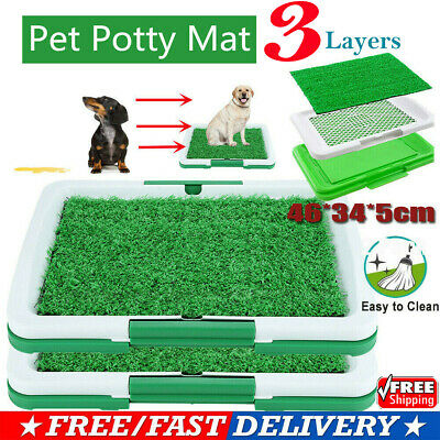 Pet Dog Toilet Mat Indoor Restroom Training Grass Potty Pad Loo Tray Large P3