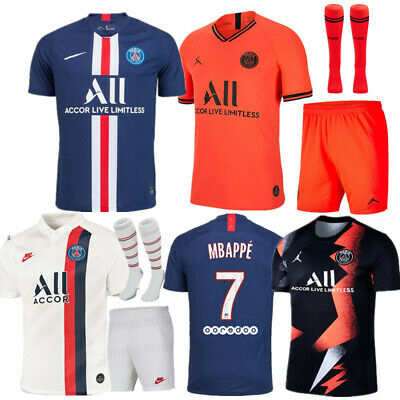 19-20 Football Kits MBAPPE 7 Soccer Suits Kids Youth Jersey Strips Sports Outfit