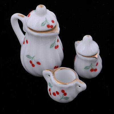 Kettle with Lid and Cups ~ D0870 Dollhouse Miniature Silver Tea Pot