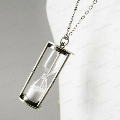 QUIRKY HOUR GLASS VIAL antique silver tone LONG NECKLACE vintage clock hourglass
