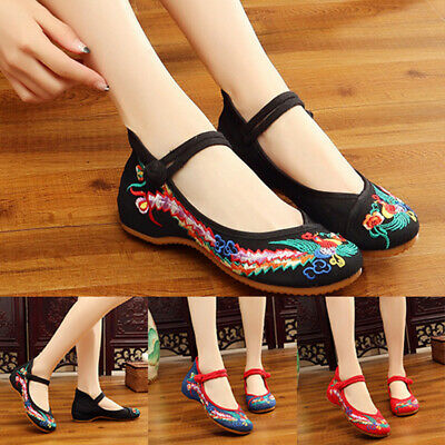 EU 35-43 Chinese Embroidered Flowers Cloth Shoes Women Casual Flat Loafer Shoes*