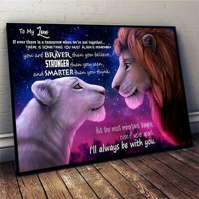 The Lion King Simba Nala To My Love I'll Always Be With You Satin Framed Canvas