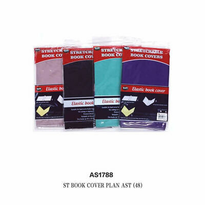 Lot of 48pcs BOOK COVERS Stretchable 40x22cm BookCover,Assorted COLORS wholesale