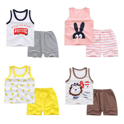 Lovely Kids Baby Girls Tops T-shirt Pants Shorts Outfit Clothes Set