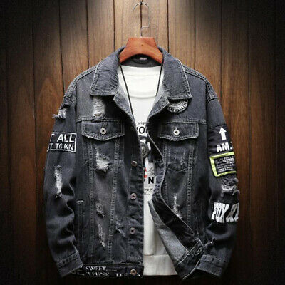 Mens Retro Ripped Frayed Denim Coat Loose Casual Hip Hop Popping Jeans Jacket