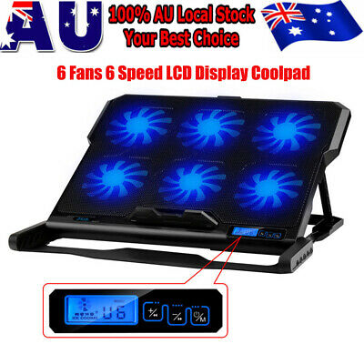 """6 Fans LCD LED USB Adjustable Height Stand Pad Cooler F Laptop Notebook 7""""-15.6"""""""