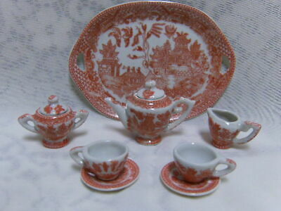Blue Willow Childs Childrens Red Pink Mini Toy Tea Set Oriental Chinese Japanese