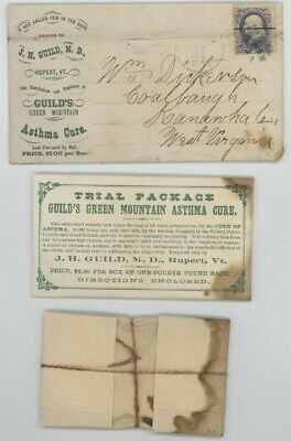 Mr Fancy Cancel 1c 2-SIDED AD COVER GUILD'S GREEN MOUTAIN ASTHMA CURE SAMPLE