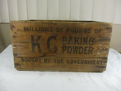 Vintage KG Baking Powder Wooden Shipping Crate Jaques Mfg. Co Chicago GOVERNMENT